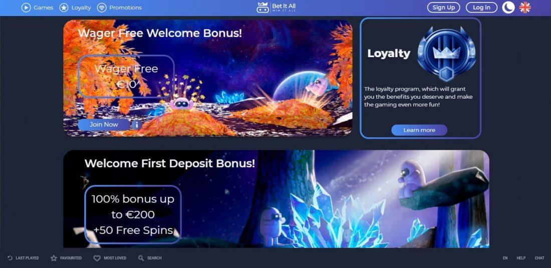 Bet It All Casino Welcome Bonus