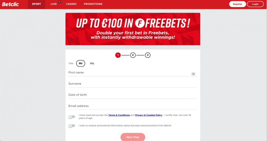 Betclick casino login process