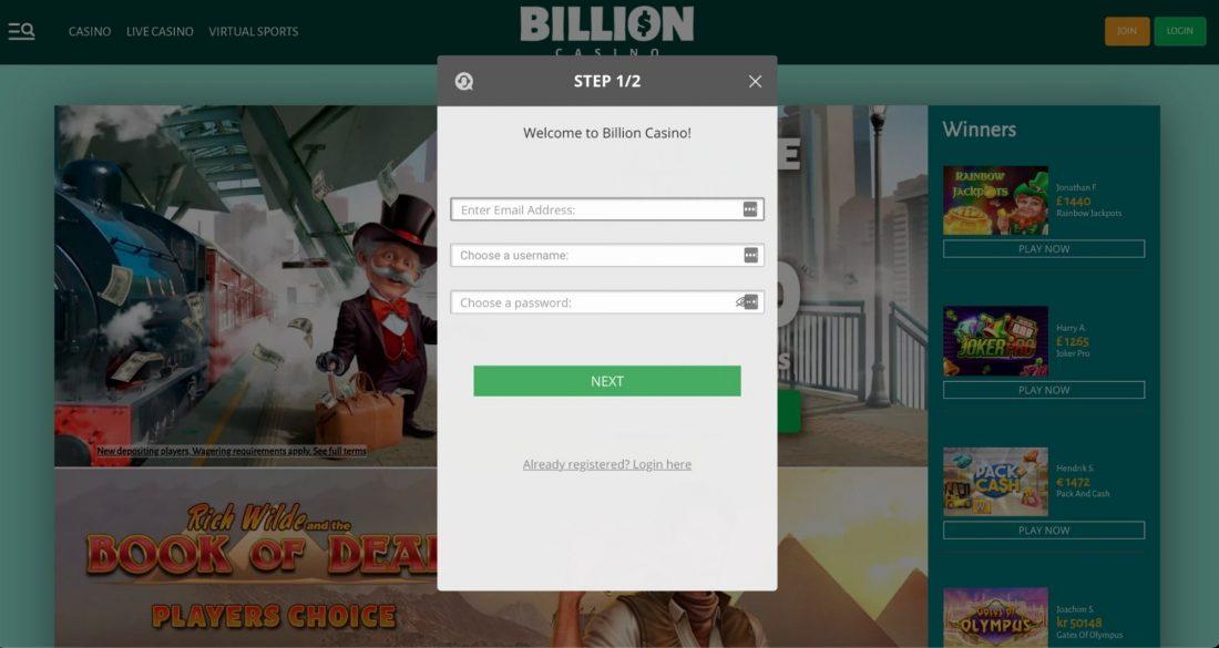 Billion Casino Login Process