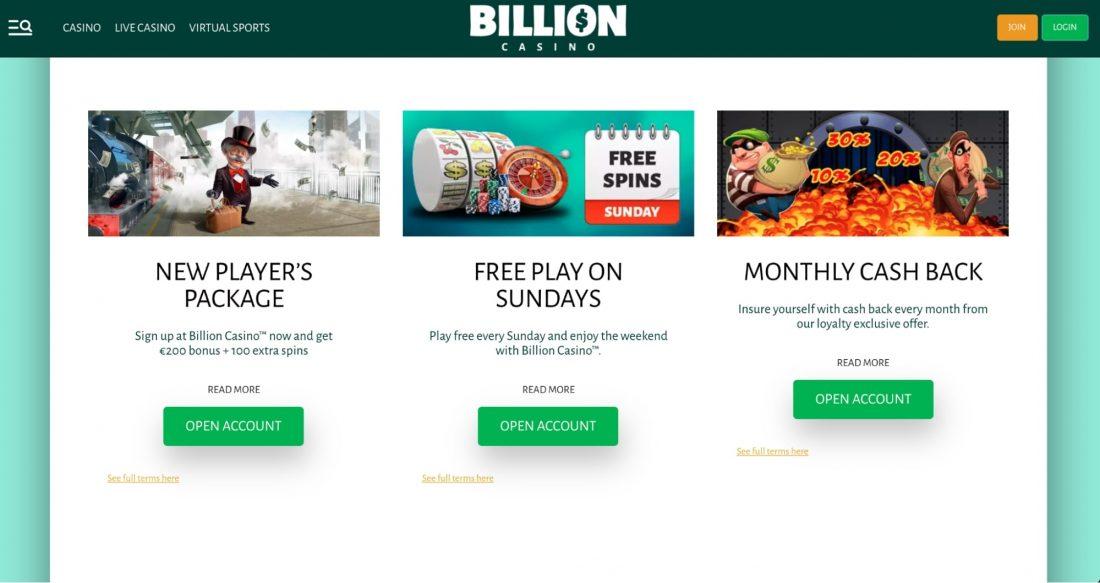 Billion Casino Welcome Bonus