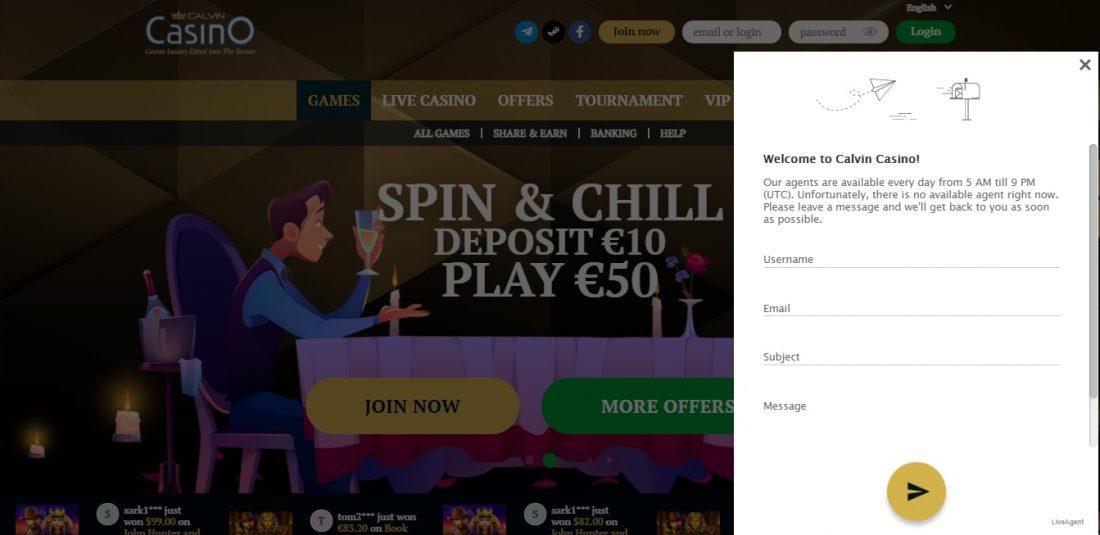 Calvin Casino Customer Support