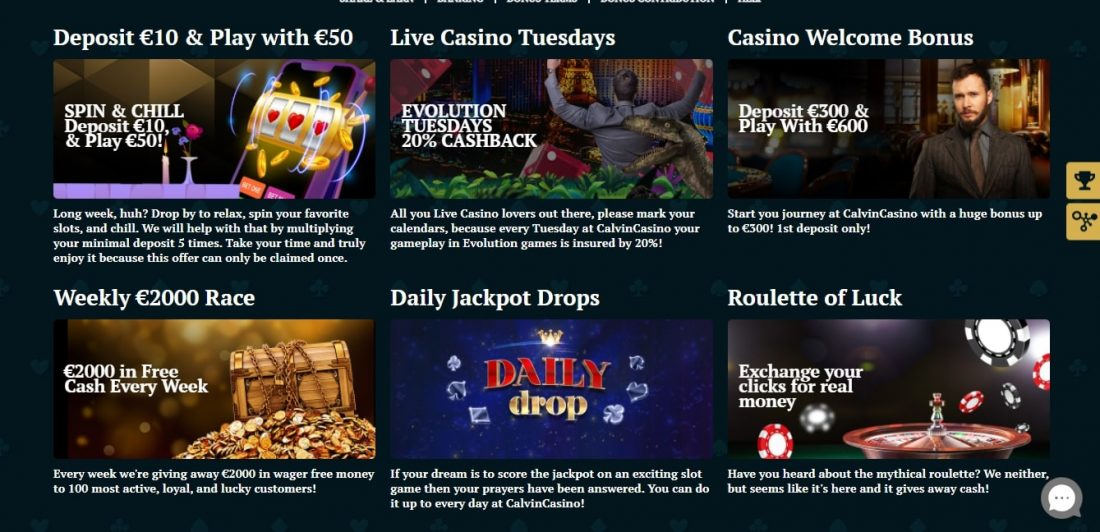 Calvin Casino Welcome Bonus