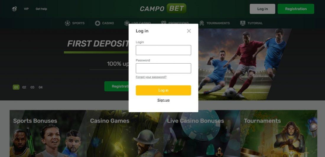 CampoBet Casino Login Process