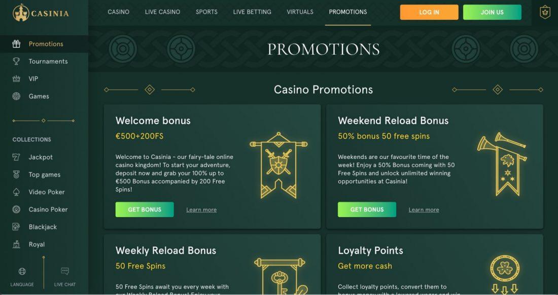 Casinia Casino Bonuses and Promotions