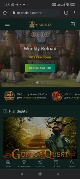 Casinia Casino Mobile App