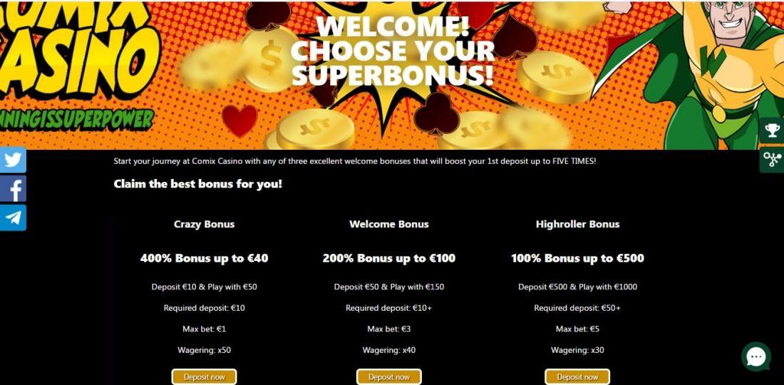 Comix Casino Welcome Bonus