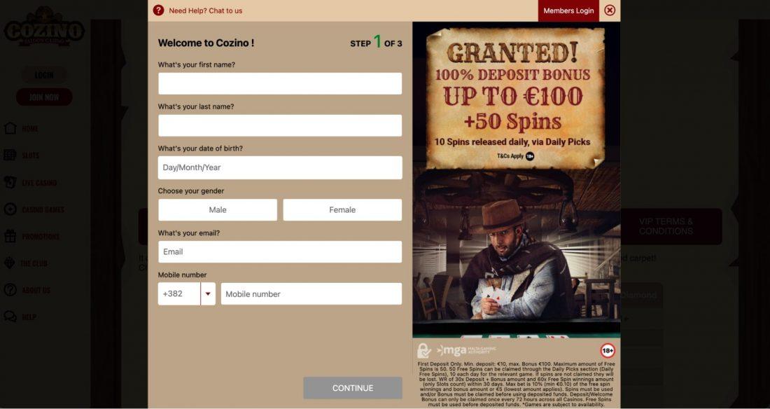 Cozino Casino Login process