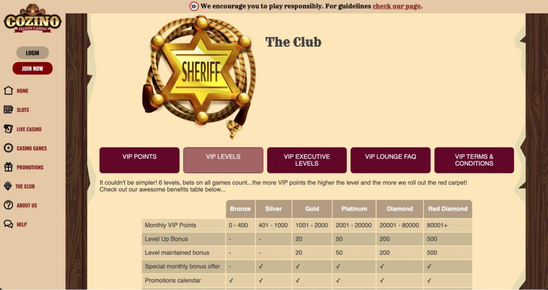 Cozino Casino VIP Program