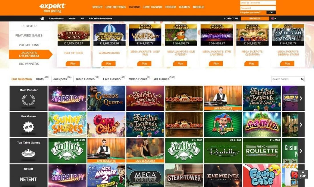 Expekt Casino Games