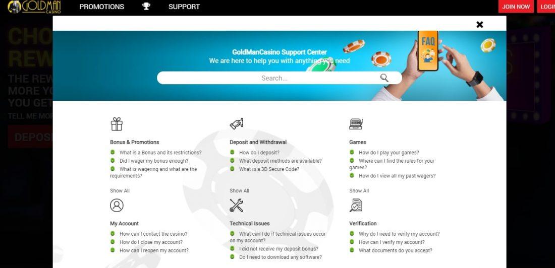 Goldman Casino Customer Support