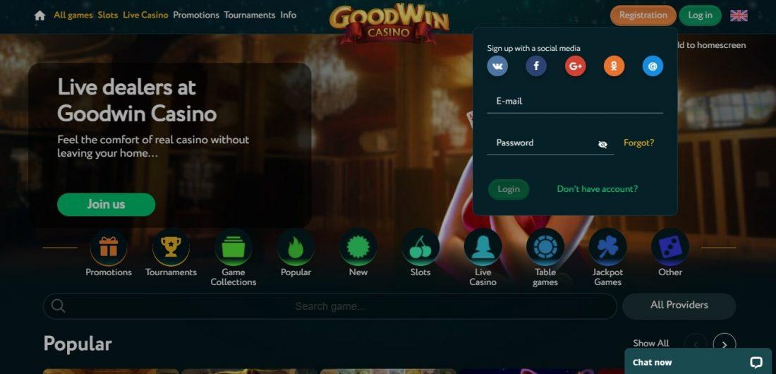 Goodwin Casino Login Process