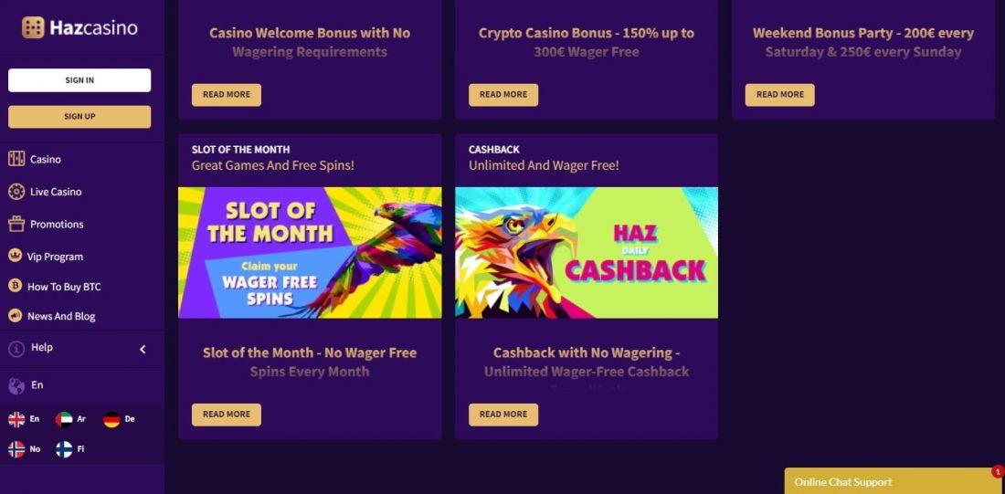 Haz Casino Bonuses