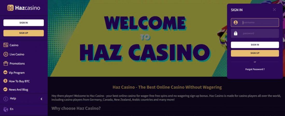 Haz Casino Login Process