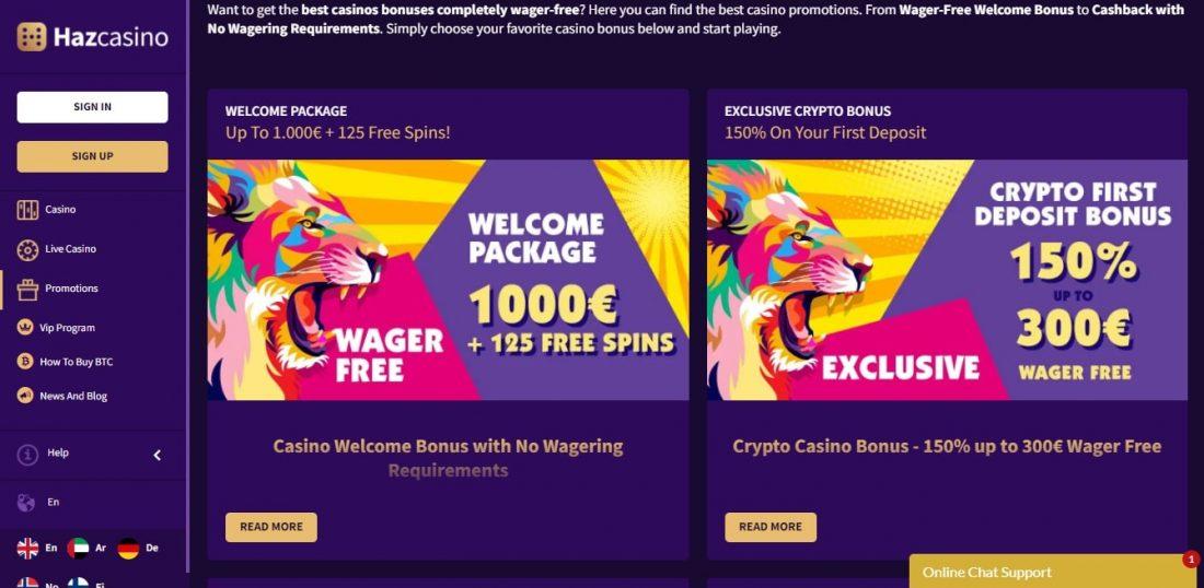 Haz Casino Welcome Bonus