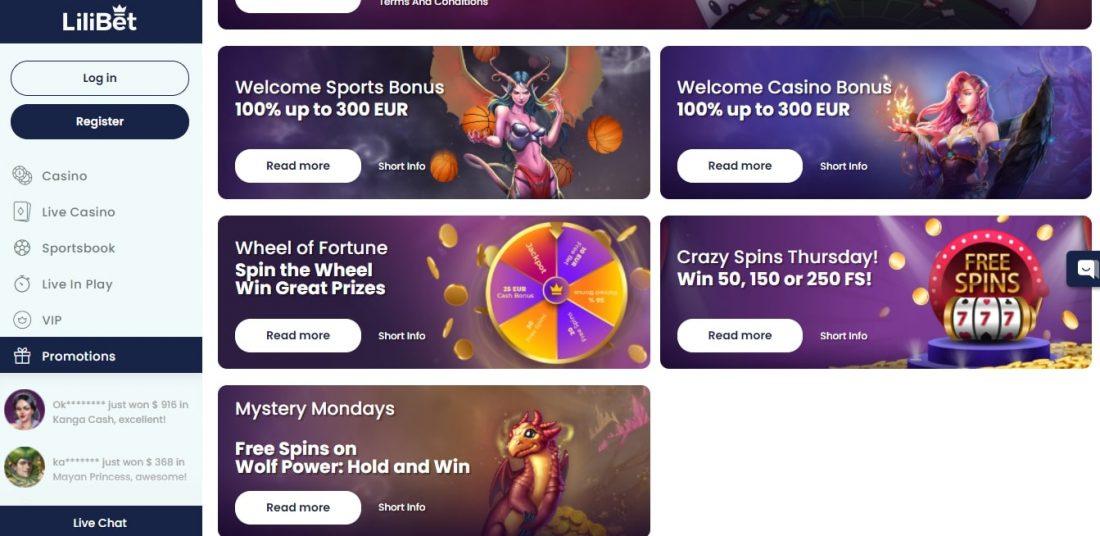 Lilibet Casino Bonuses