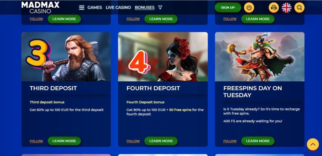 MadMax Casino Bonuses
