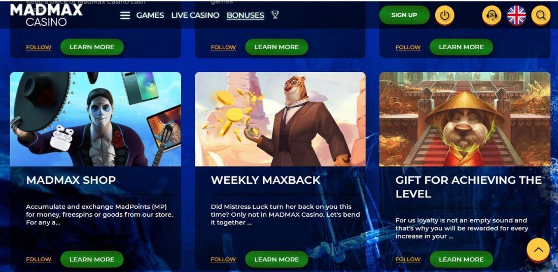 Madmax casino free spins