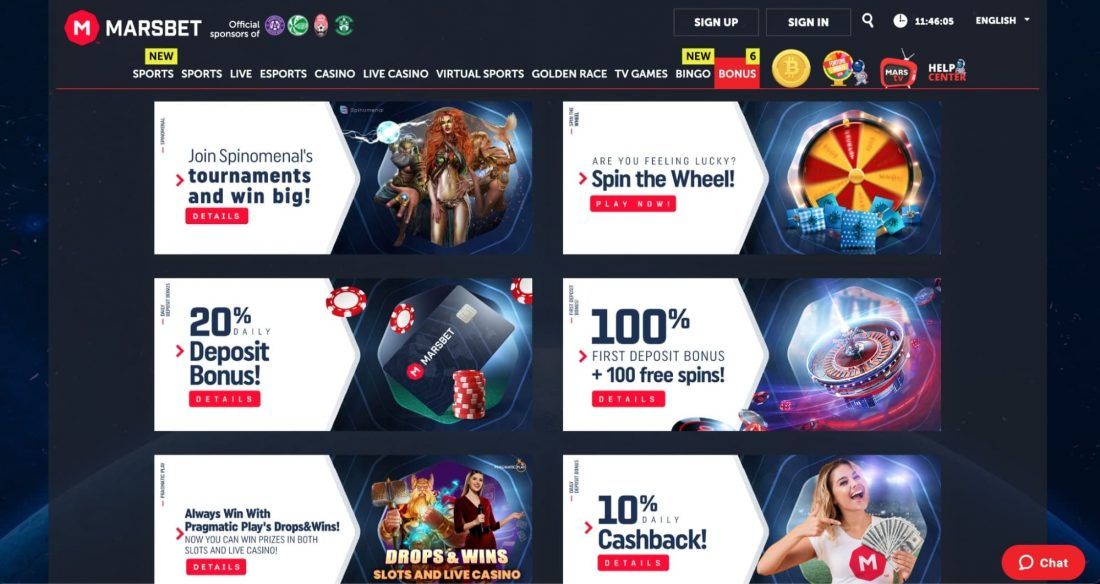 MarsBet Bonuses and Promotions