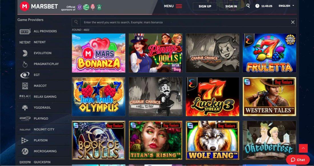 Marsbet Casino Games