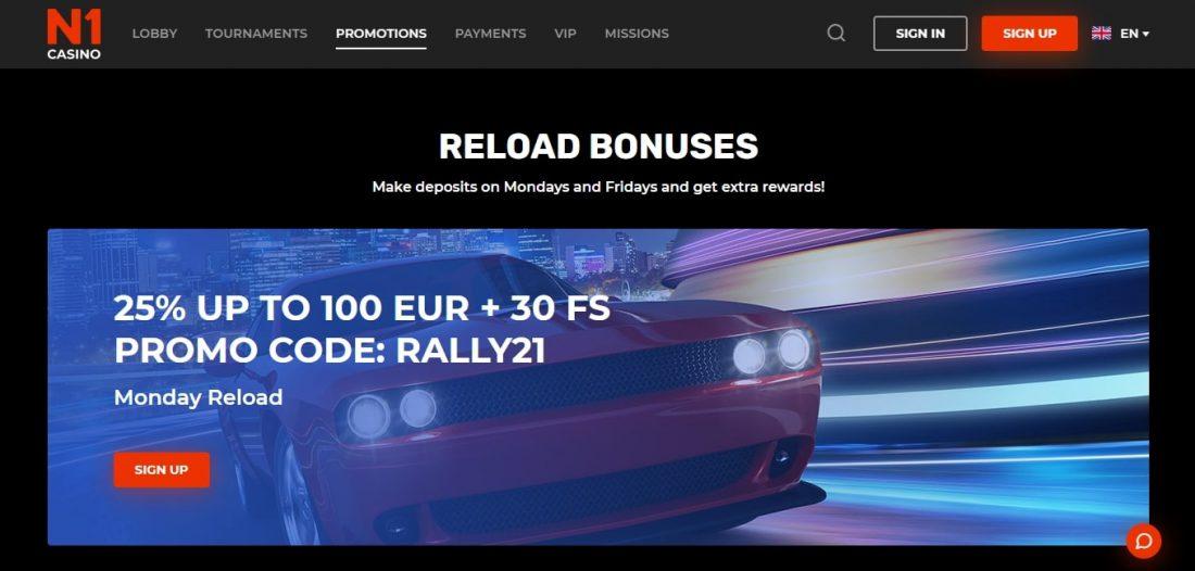 N1 Casino Reload Bonuses