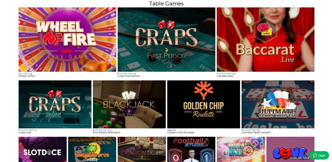 Pronto Casino Table Games