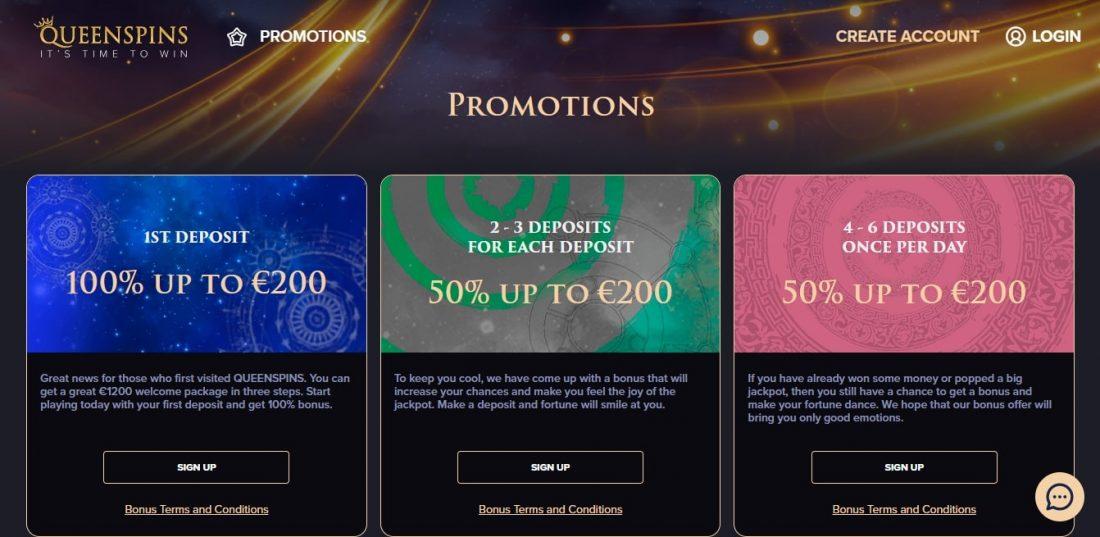 QueenSpins Casino Welcome Bonus