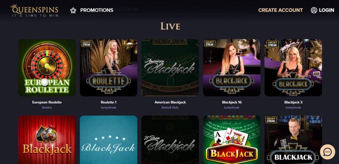QueenSpins Live Casino