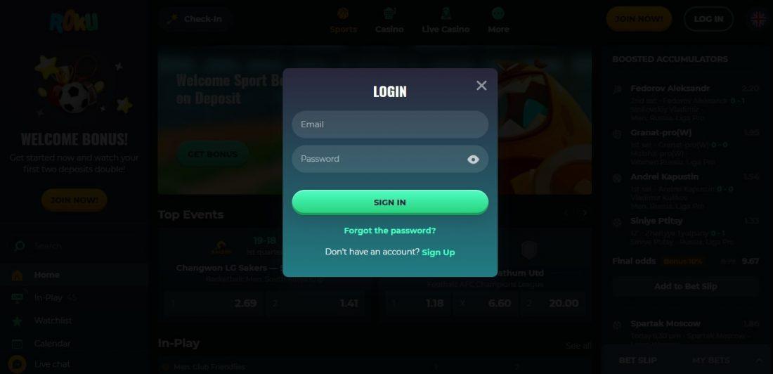 Roku Casino Login Process