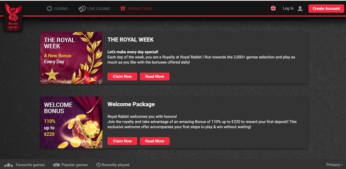 Royal Rabbit Casino Welcome Bonus