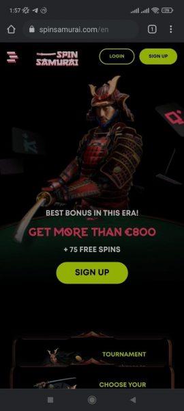 Spin Samurai Casino Mobile App