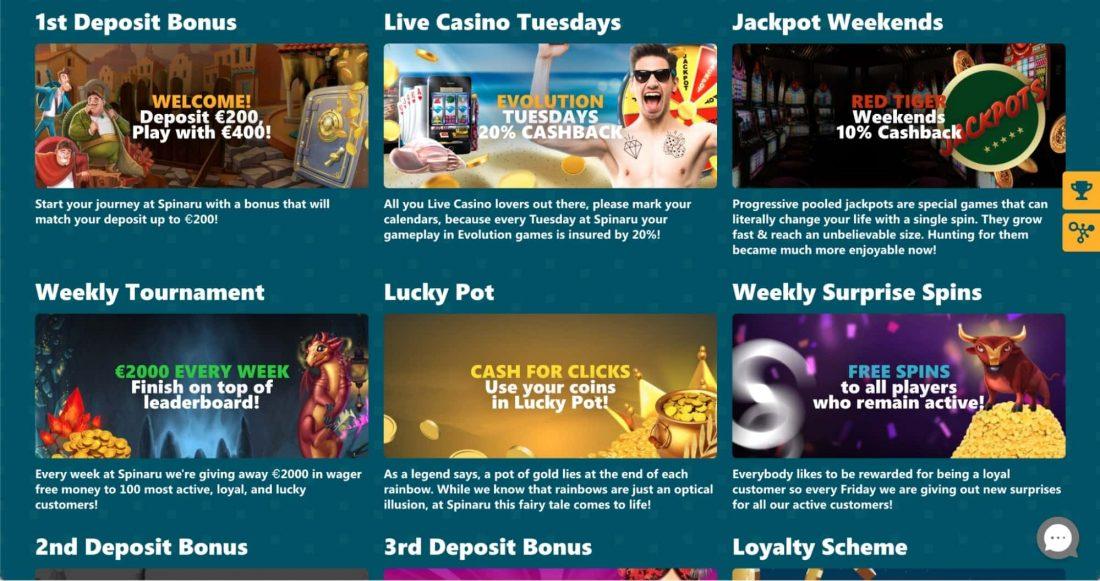 Spinaru Casino Bonuses and Promotions