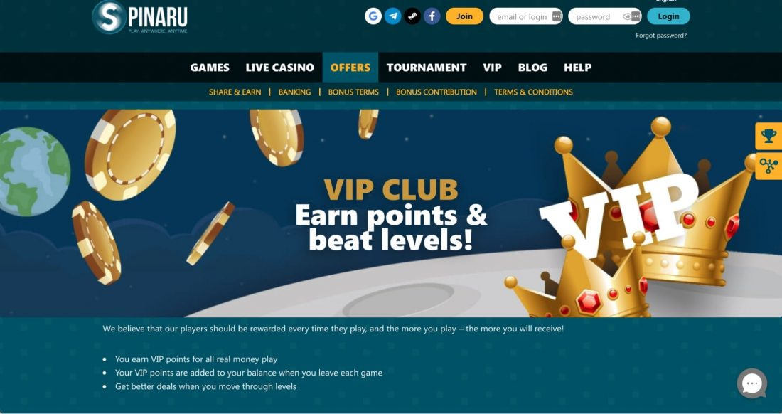 Spinaru Casino VIP Program