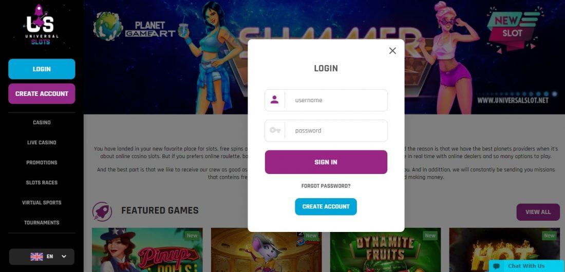 Universal Slots Casino Login