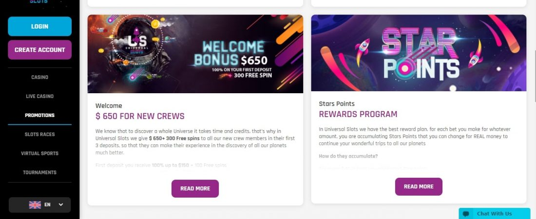 Universal Slots Casino Welcome Bonus