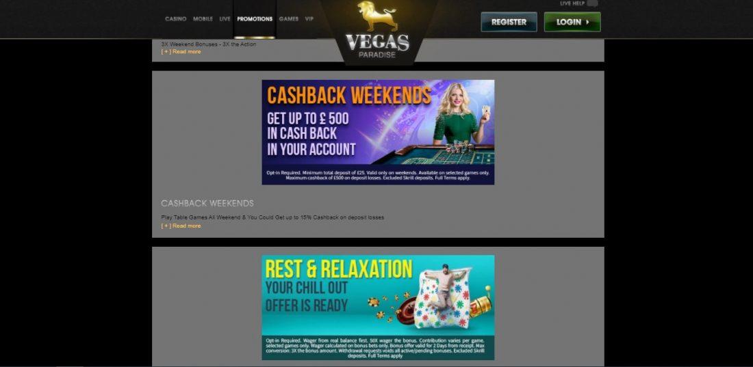 Vegas Paradise Bonuses