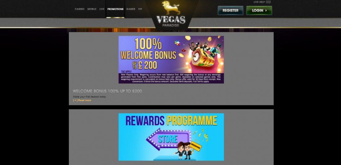Vegas Paradise Casino Welcome Bonus