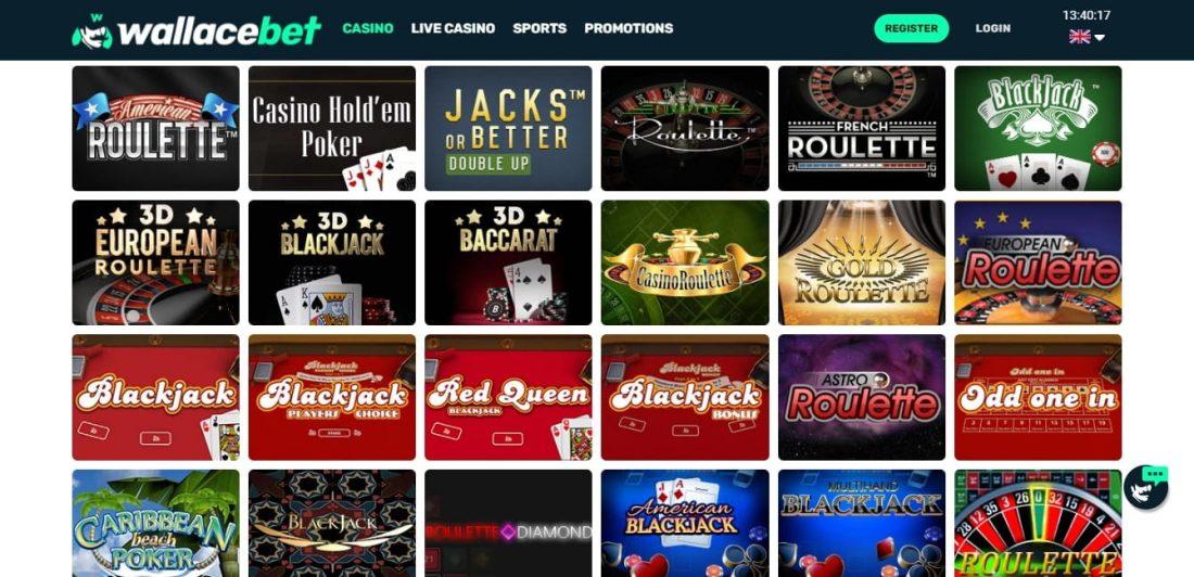 Wallacebet Casino Table Games
