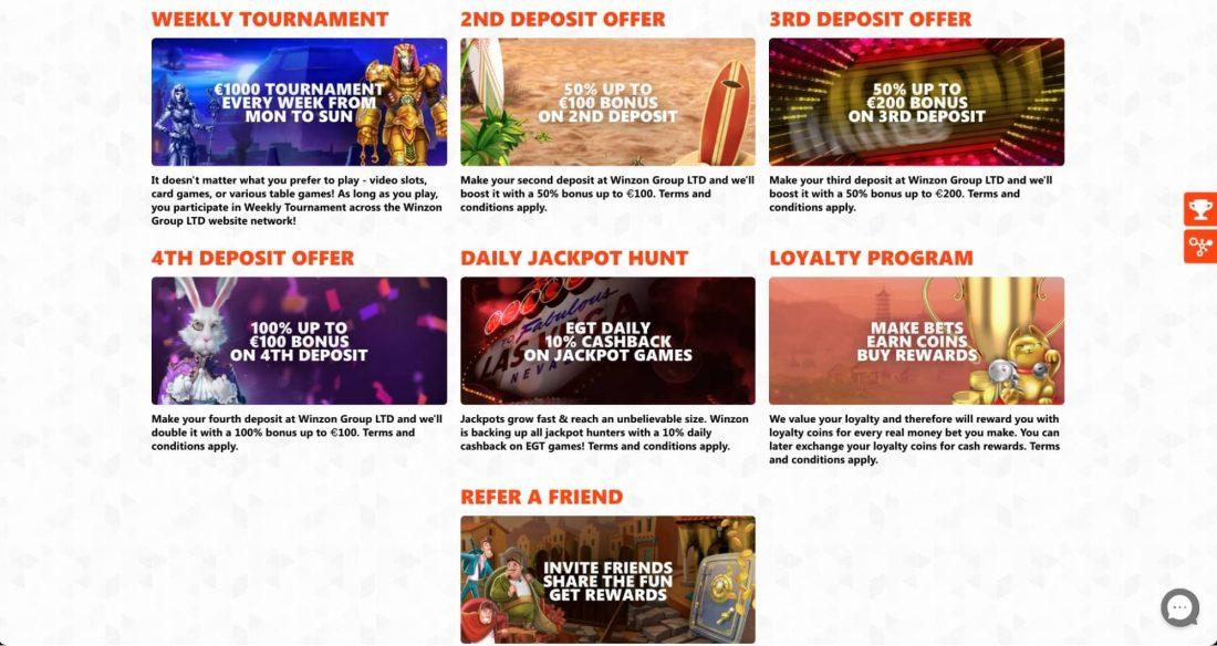 Winzon Casino Bonuses