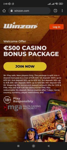 Winzon Casino Mobile App