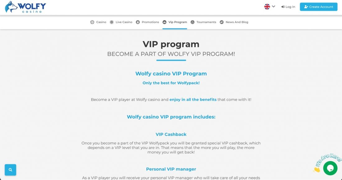 Wolfy Casino VIP Program