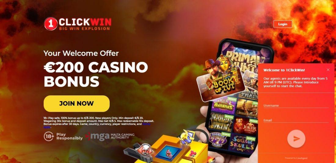 1ClickWin Casino Customer Support