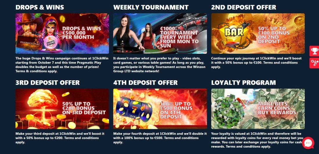 1ClickWin Casino Welcome Bonus