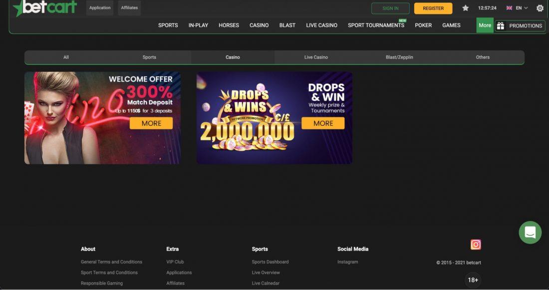 Betcart Casino Welcome Bonus