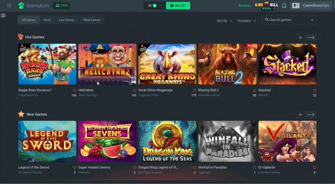 Gamdom Casino Games