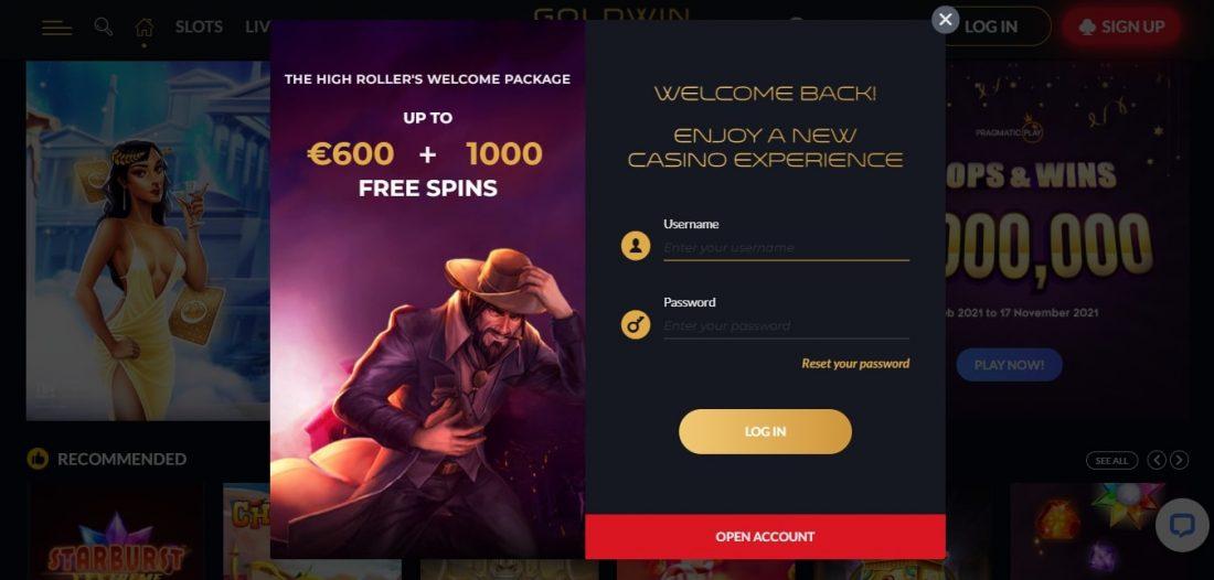 GoldWin Casino Login Process