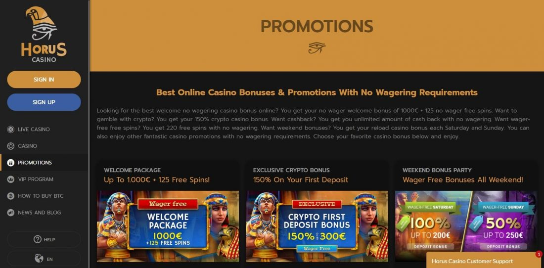 Horus Casino Promotions