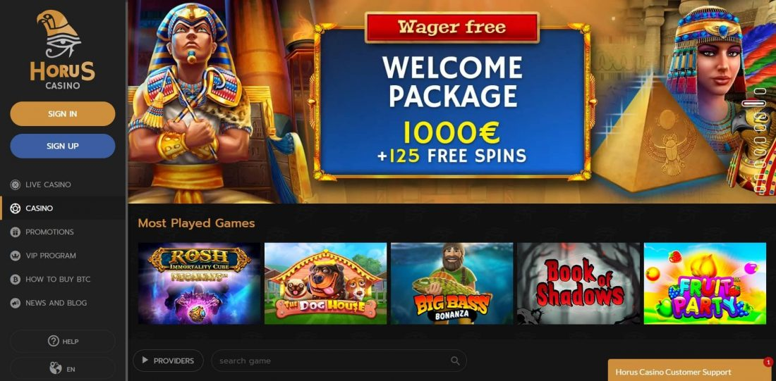 Horus Casino Welcome Package