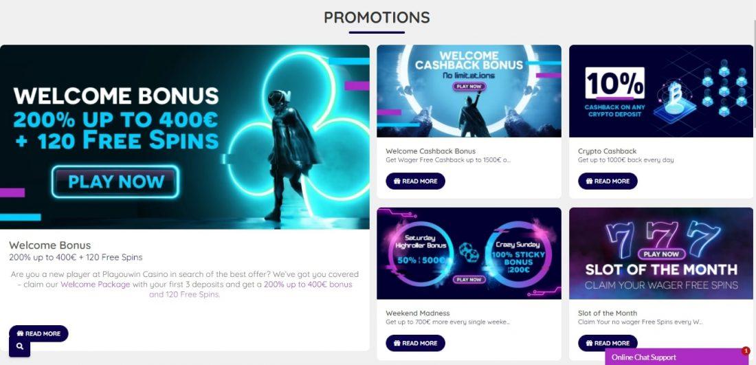 PlaYouWin Casino Welcome Bonus