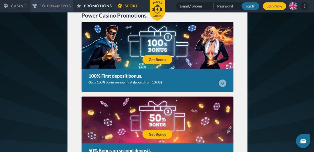 Power Casino Bonuses