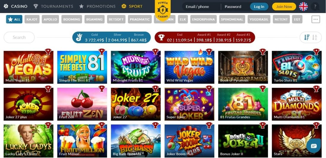 Power Casino Games Offered